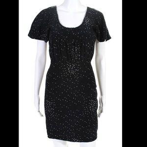 MADISON MARCUS Black 100% Silk Pleated Star Dress